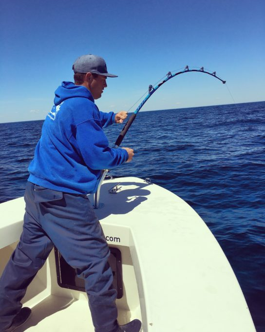 Capt. Willie Woodruff fighting a Bluefin Tuna on High Hook